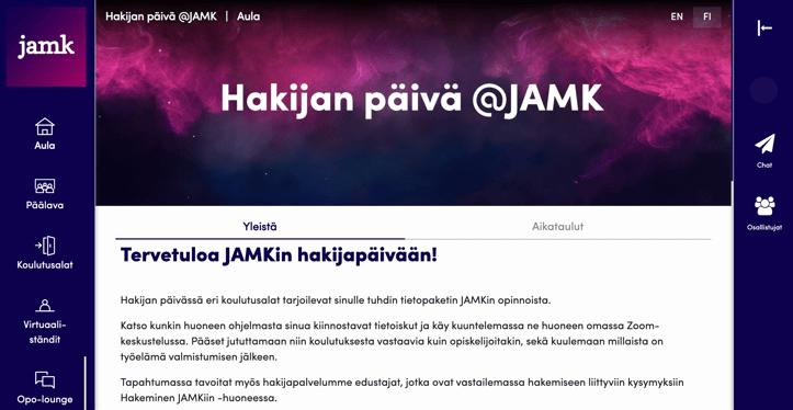 Virtuaalitapahtuma-alusta JAMKin käytössä